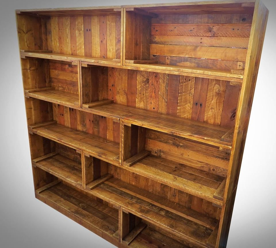 Antique Pallet Bookcase Built In Crate Style Pallets