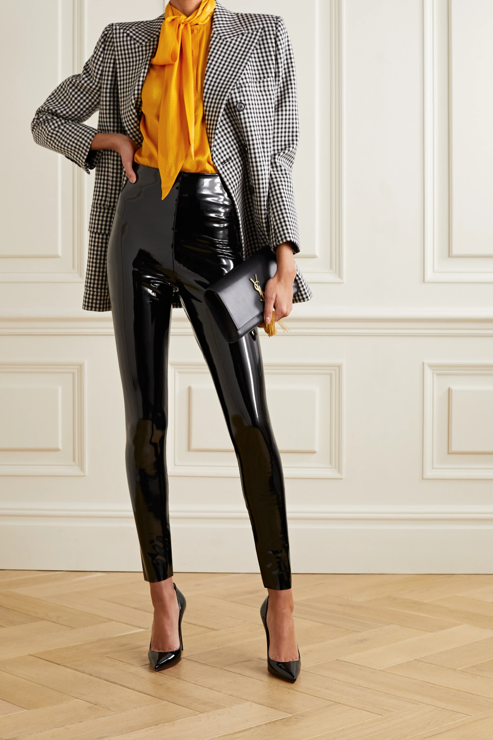 Pussy-bow silk-jacquard blouse