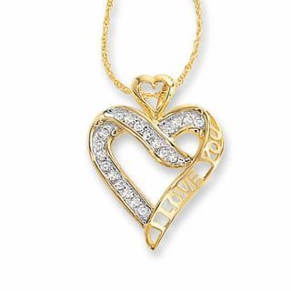 1 5 Ct T W Diamond I Love You Heart Pendant In 10k Gold Zales Heart Pendant Diamond Heart Pendant Heart Necklace Diamond