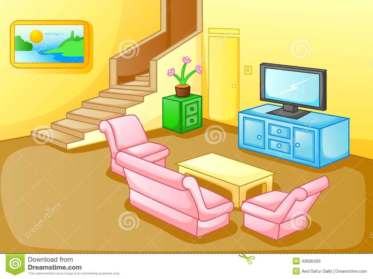 Cartoon Living Room Scene Living Room Clipart Home Improvement