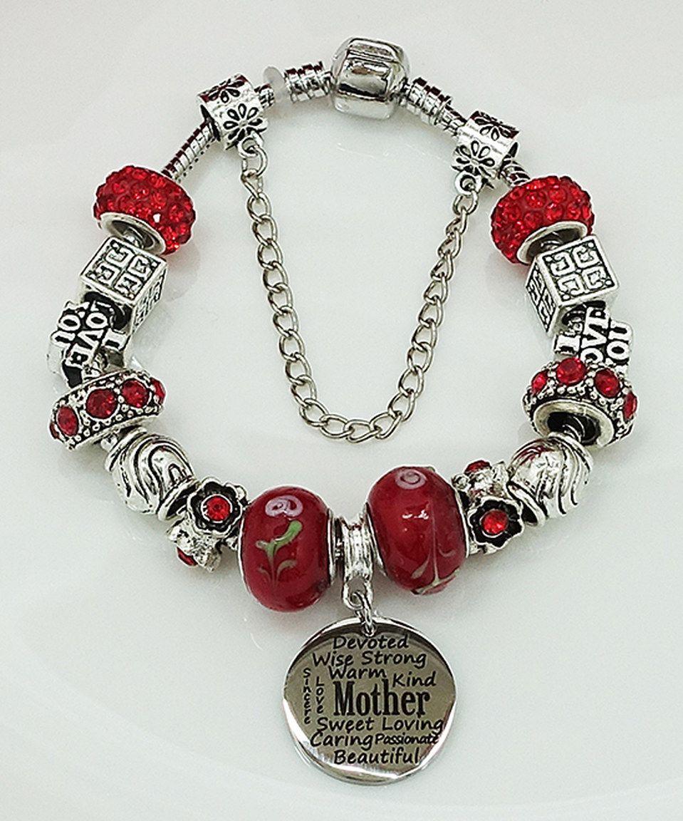 Look at this #zulilyfind! Silvertone & Red Bead Mother Bracelet by Pink Box Accessories #zulilyfinds