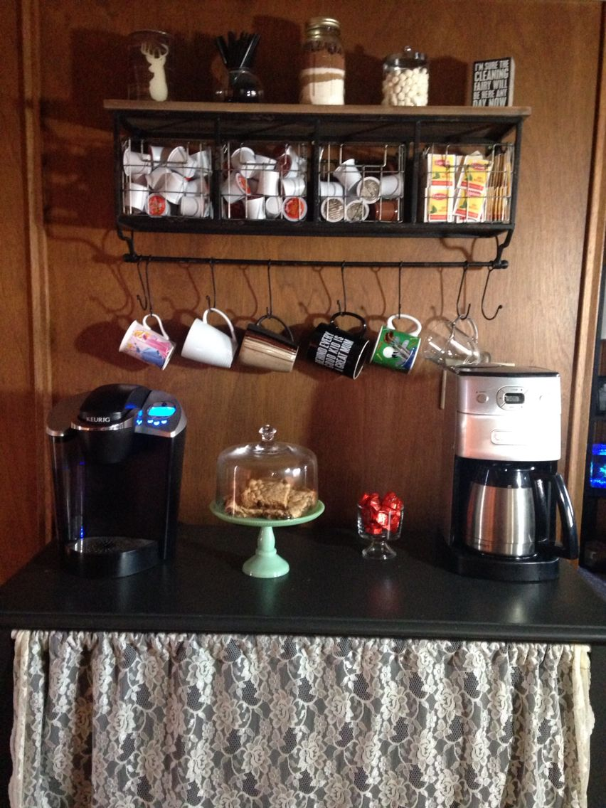My coffee bar. Love how it turned out! Stand I already had