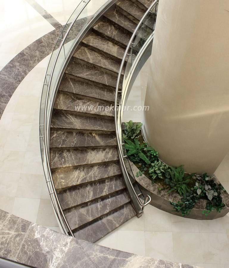 Mekmar   Stair Treads   All   Dark Emperador Marble Stairs