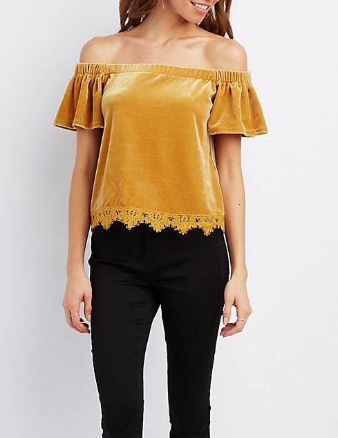 555fa102c2242 Velvet Crochet-Trim Off-The-Shoulder Top
