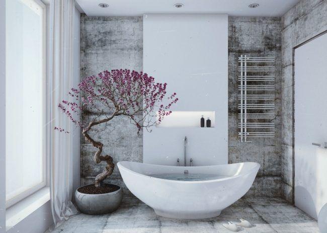 wohnideen für badezimmer grau fliesen shabby stil bonsai wanne - badezimmer grau design