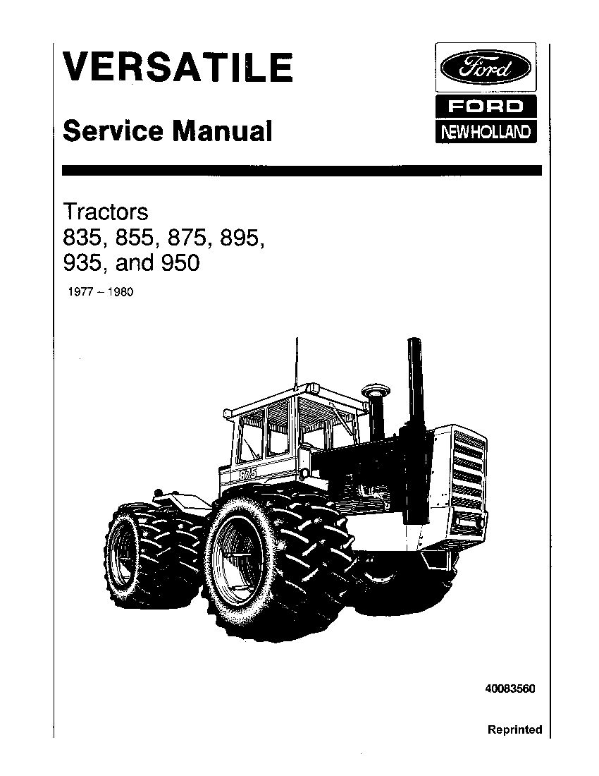 New Holland Ford 835 855 875 895 935 950 Tractors Workshop Repair