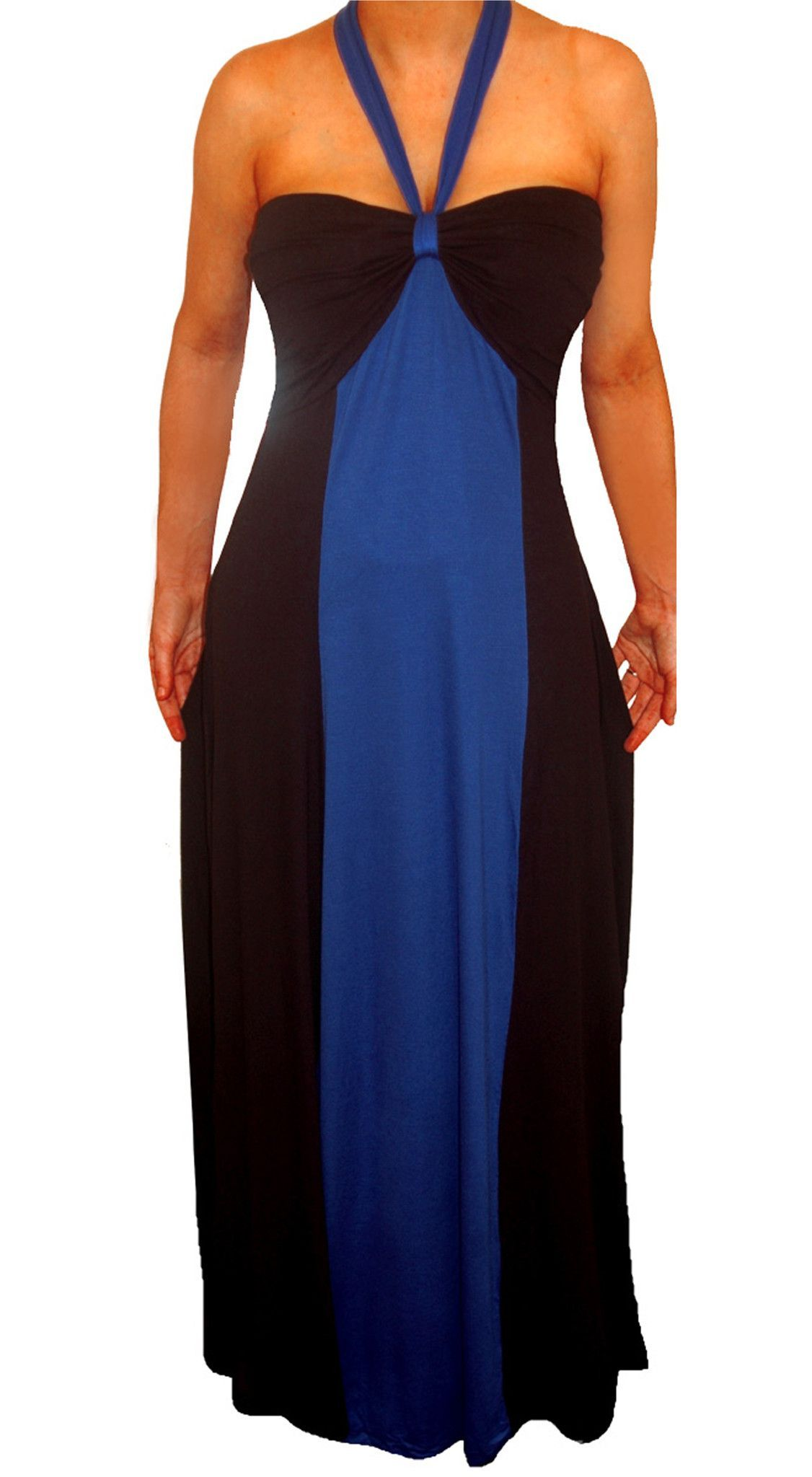 Funfash Plus Size Blue Black Color Block Halter Long Maxi Womens Dress