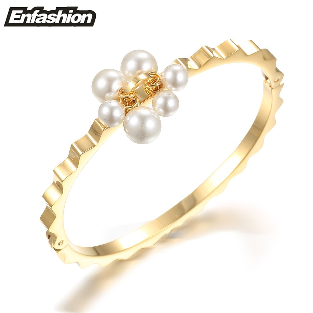 Enfashion pearl wave bracelet manchette noeud armband rose gold