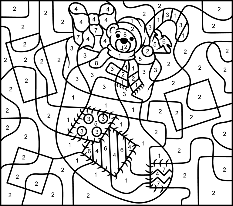 Coloring Pages For Christmas Online. Christmas Stocking  Online Color by Number Page Hard Printable