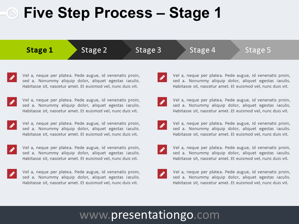 free 5 step process powerpoint template - stage 1 | powerpoint, Presentation templates