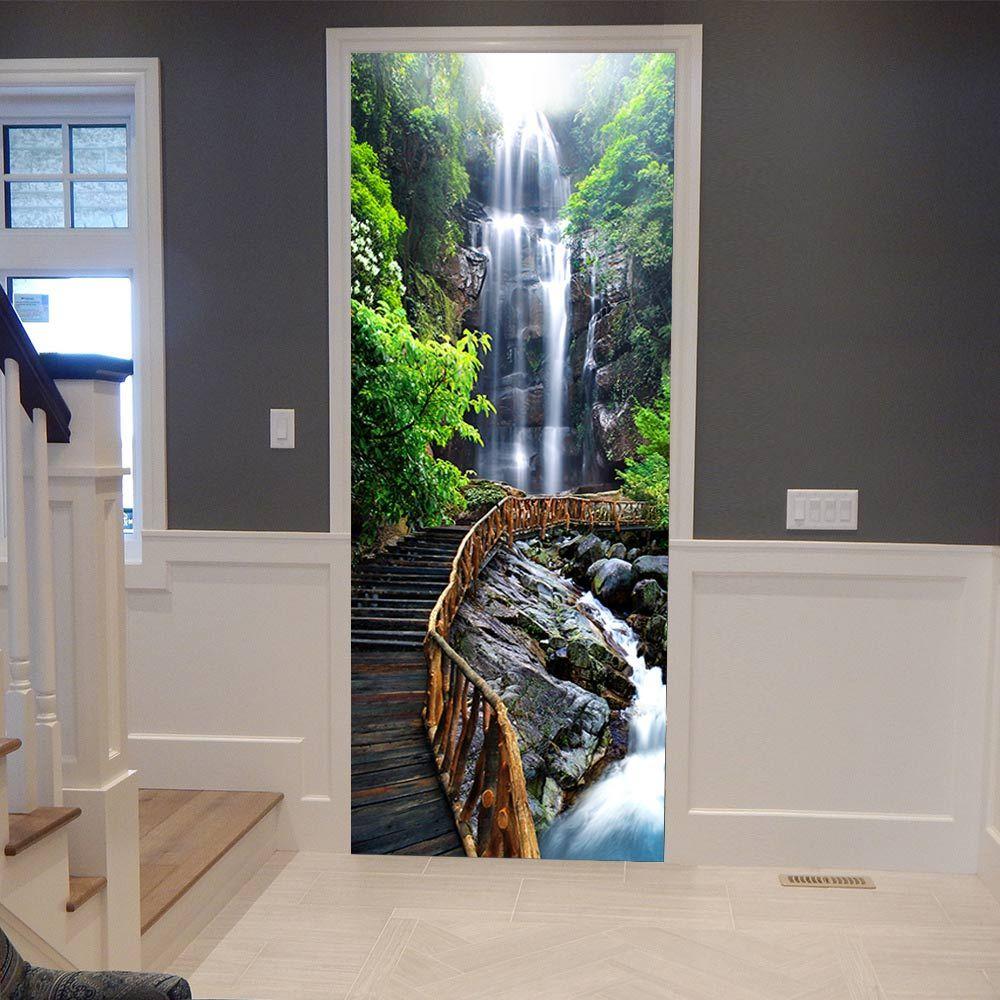 3d Door Stickers Waterfall Wooden Poster Wall Decal Door Mural Art Bedroom Door Waterproof Pvc Sticker Wallpaper Diy Home Decor