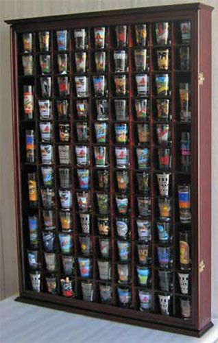 100 Shot Glass Display Case Wall Cabinet Rack Shadow Box Sc15 Ma Glass Display Case Shot Glass Holder Large Shadow Box