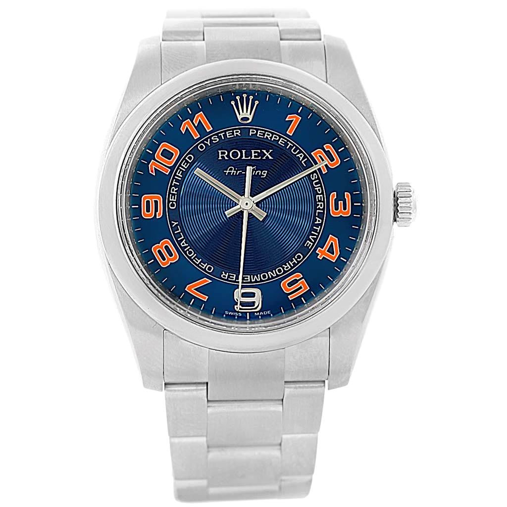 17395 Rolex Air King Blue Concentric Dial Watch 114200 Box