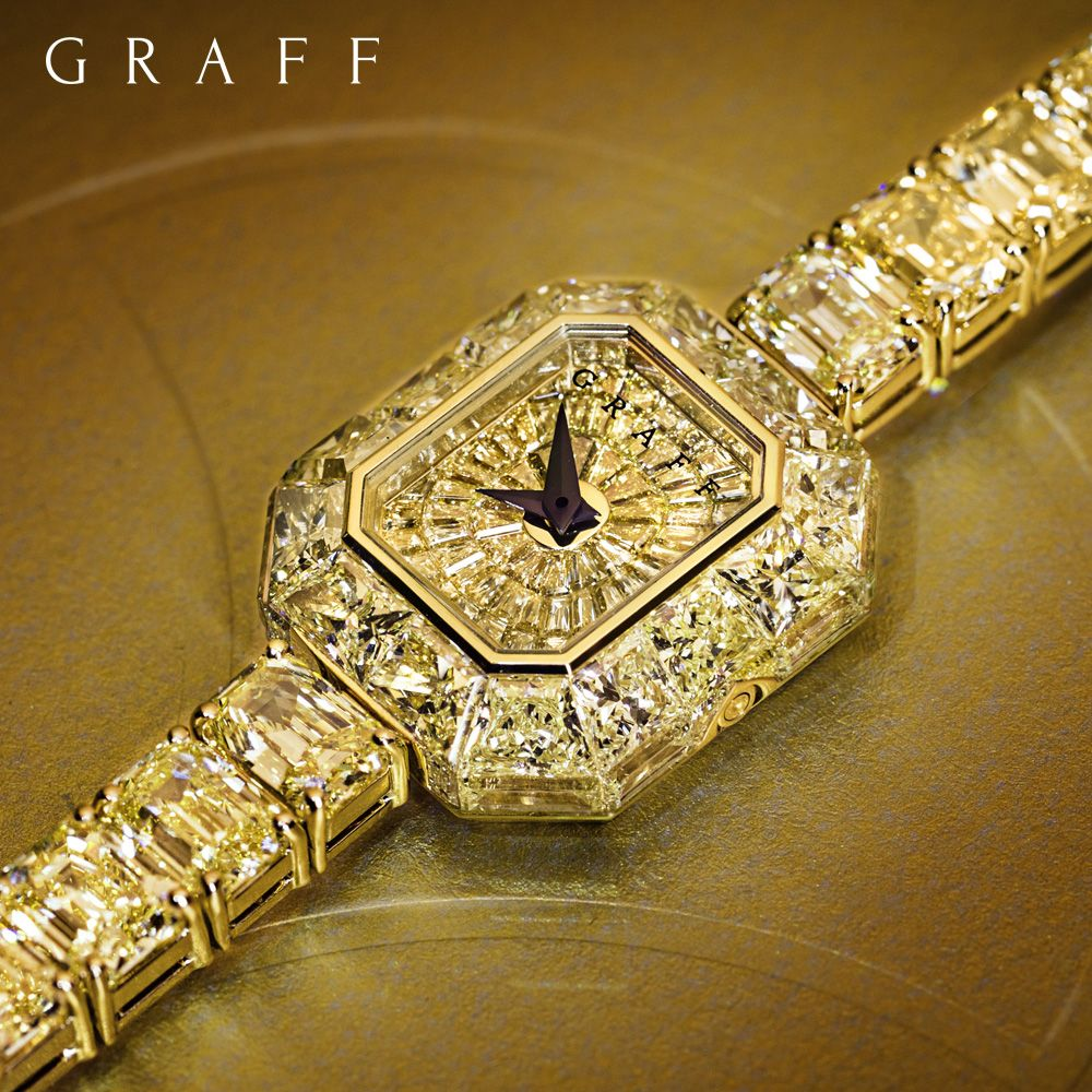 Featuring over 34 carats of the rarest yellow diamonds, this show stopping timepiece is a showcase of Graff's ability to create an exceptional work of art.