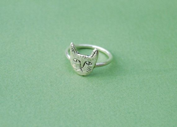 Silver cat face ring by datter on Etsy, $64.00