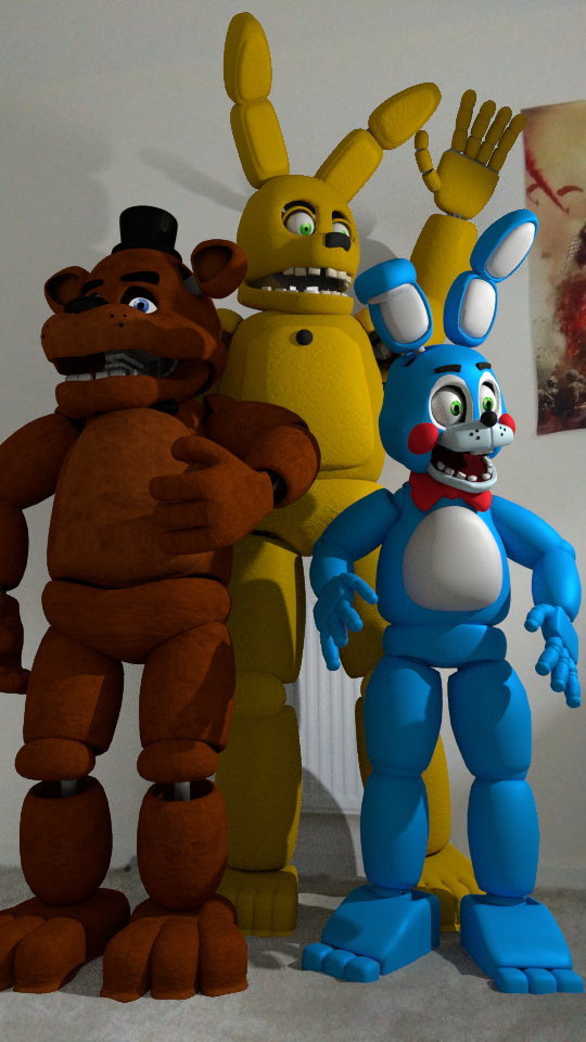 Toy Bonnie, Freddy and Springbonnie in real life! by