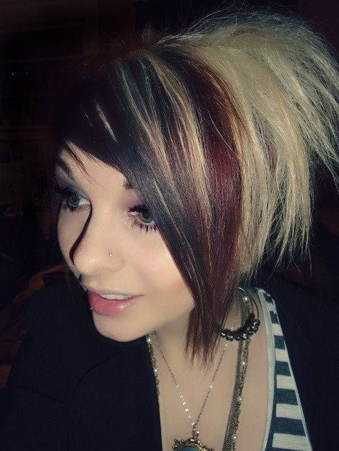 Black Red And Blonde Short Hair Short Hair Styles Hair Inspiration Two Toned Hair