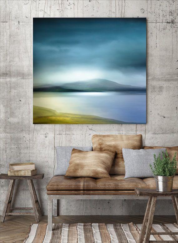 Extra large wall art, hipster, loft art, canvas large, large canvas, fireplace mantle, abstract, modern, housewarming gift, blue, wall art #framesandborders