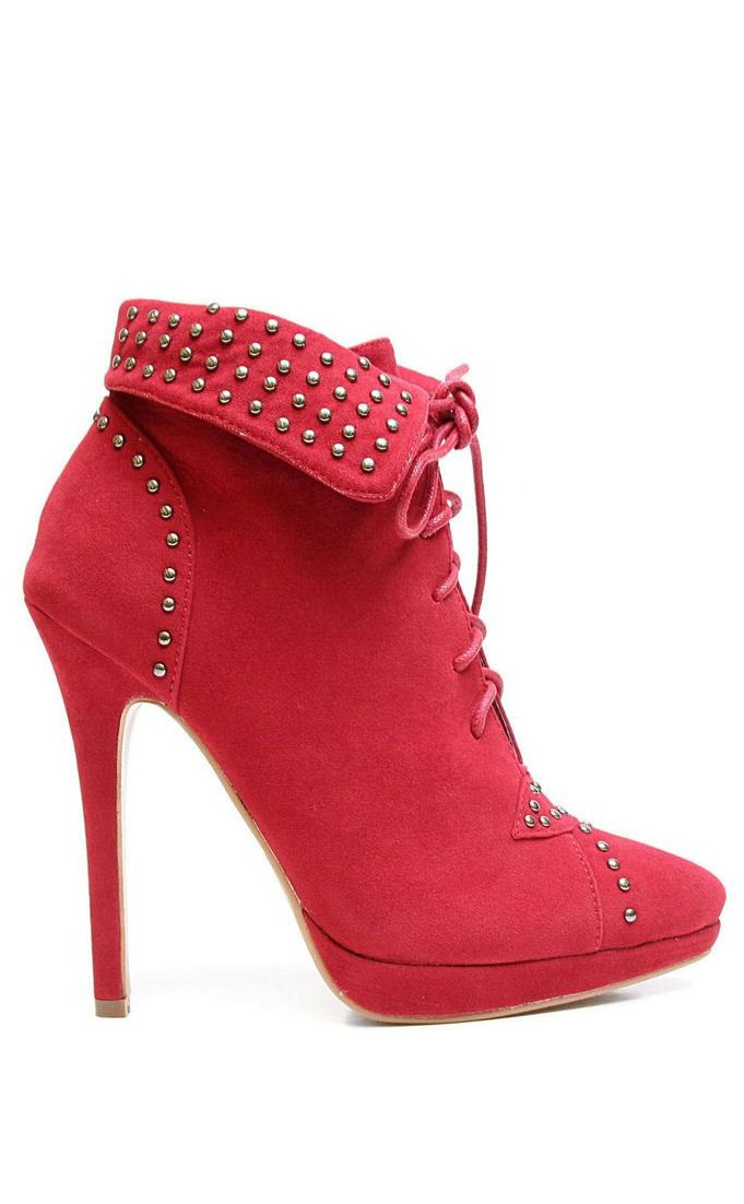 Lace-Up Studded Heel Booties ♥