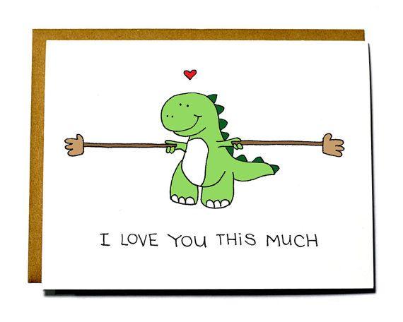 Süße Dinosaurier-Karte - T-Rex-ich liebe dich viel, lieben Karte, lustige Karte für Valentinstag, Hochzeitstag