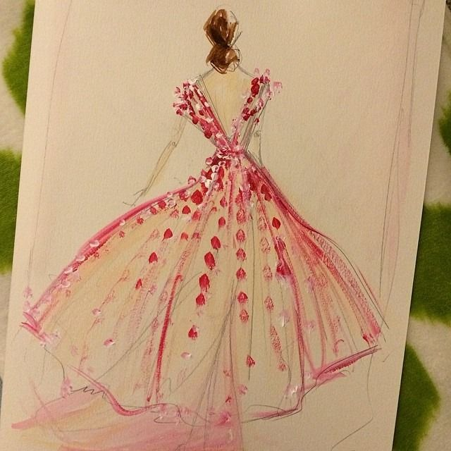 Sketch of the day: Sheer tulle petal overlay dress. Sketches are available at www.christiansiriano.com #cssketch