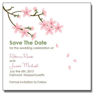 Save The Date Printable Apple Blossom Wedding Invitations Diy