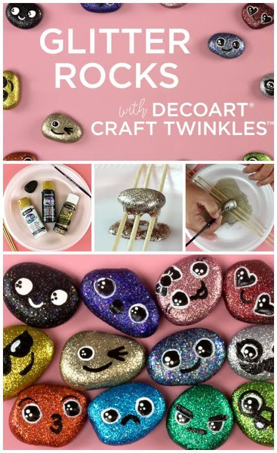 Create This Project With Craft Twinkles Create Whimsical Glitter Rocks With Your Kids Using Craft Twinkles Sparkle Crafts Glitter Rocks Glitter Paint Craft
