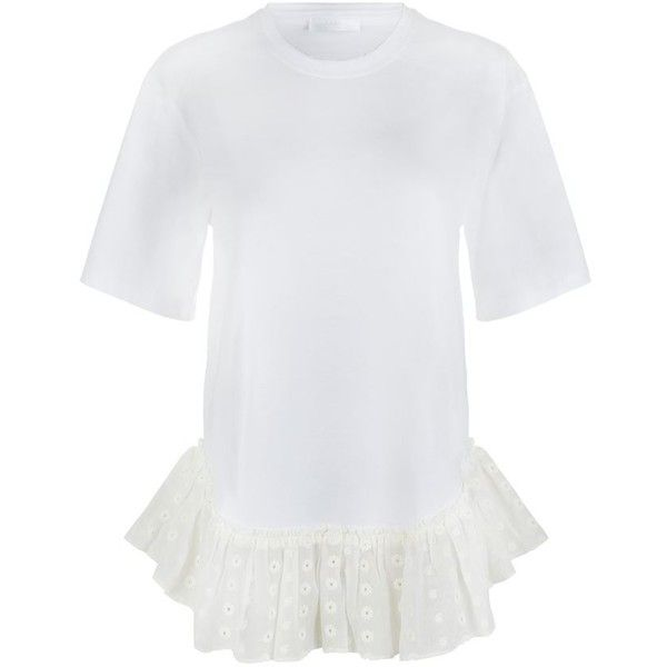 Chloé Broderie Anglaise Frill Oversized T-Shirt (3,750 CNY) ❤ liked on Polyvore featuring women's fashion, tops, t-shirts, ruffle tee, cotton t shirt, embellished tee, round neck t shirt and oversized tops