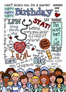 Happy Birthday Wordcloud Card For Female Nurse