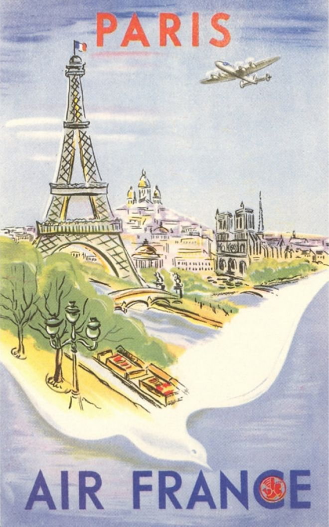 Paris u2013 Air France Poster Retro posters Pinterest Air france - new air france world map flight routes c.1948