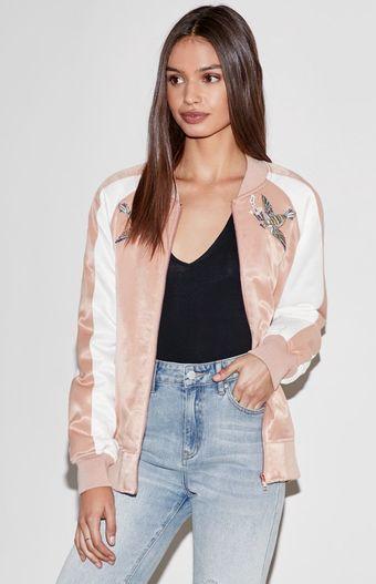 26476e795 Pin by Maria Ricart on Fashion   Satin bomber jacket, Bomber jacket ...