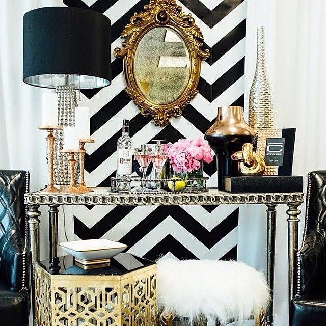 This Chevron Wallcovering With The Gold Vintage Mirror And Glamorous  Accessories Really Creates A Chic Focal Point! | Dining Area | Pinterest |  Vintage ...