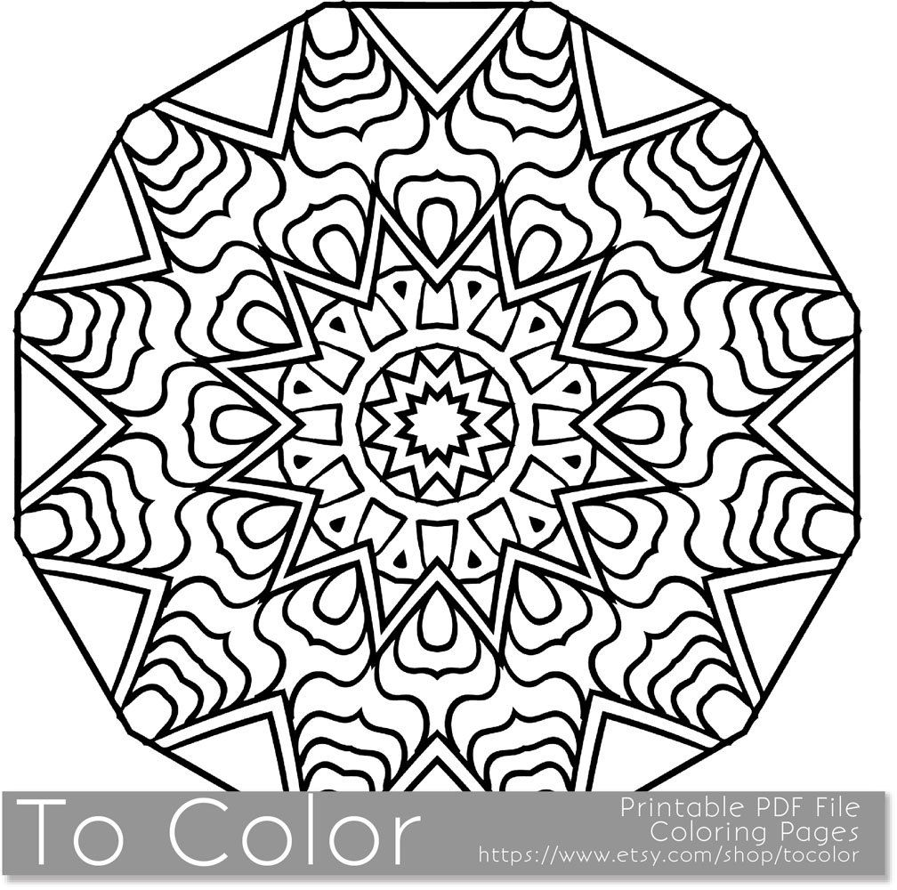 Printable Coloring Pages For Adults Mandala Snowflake Pattern PDF JPG Instant Download