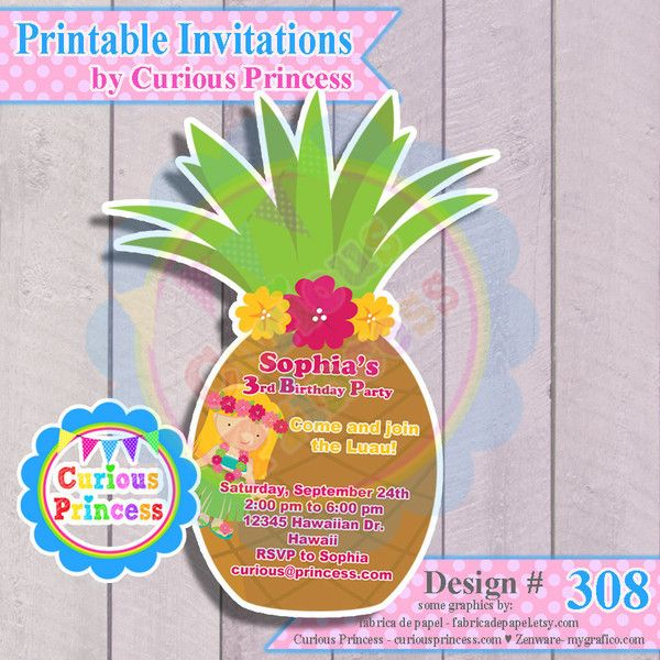 Hawaiian luau birthday party ideas pineapple UNIQUE shaped – Hawaiian Party Invitation Ideas