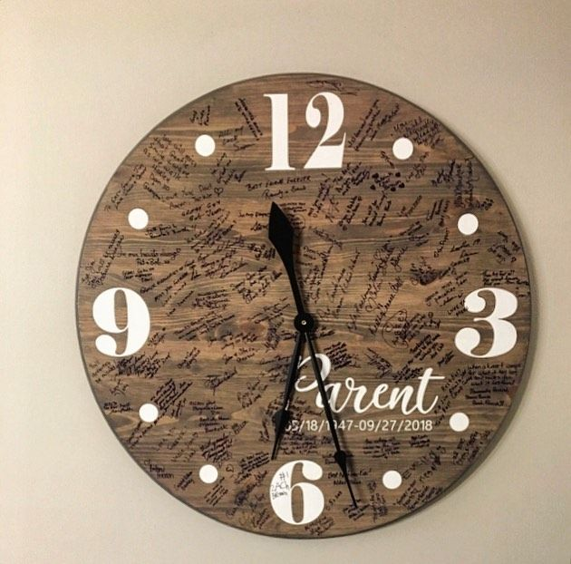 This #tbt is to our very first #memorial clock we did!  This was for some #friends and it was just a good idea they had!  Every person that came to say there goodbuy signed this clock instead of that book. . These also make a good guest book for a wedding!! 💒 . #wedding #weddingideas #weddingguestbook #weddingplanner #memories #funeral #funeraldirector #funeralhome #memori #remember #imake #imadethis #imadeit #amherstburg #icreate #yqg #garage #garagewoodshop #garageworkshop #woodshoplife #cloc