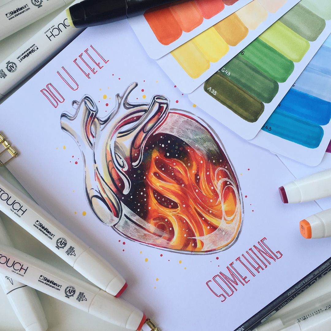 My Heart Is On Fire Illustration Drawing Touchmarkers