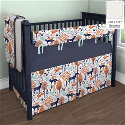 Navy And Orange Woodland Crib Bedding By Carousel Designs