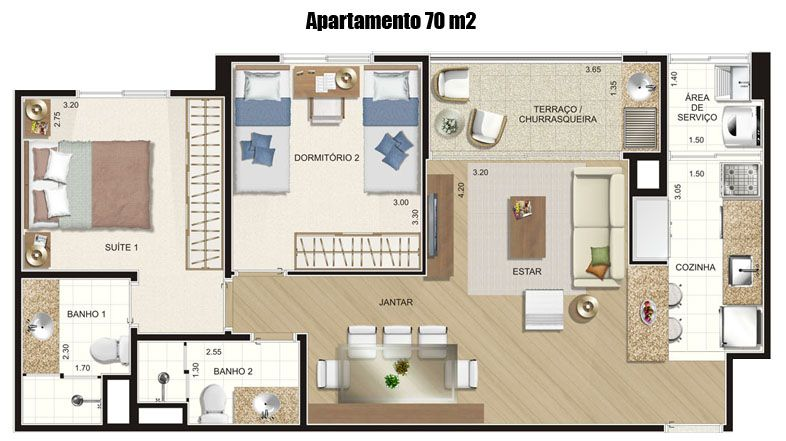 Plantas 70m2 Com Suite · Smallest HouseSmall ...