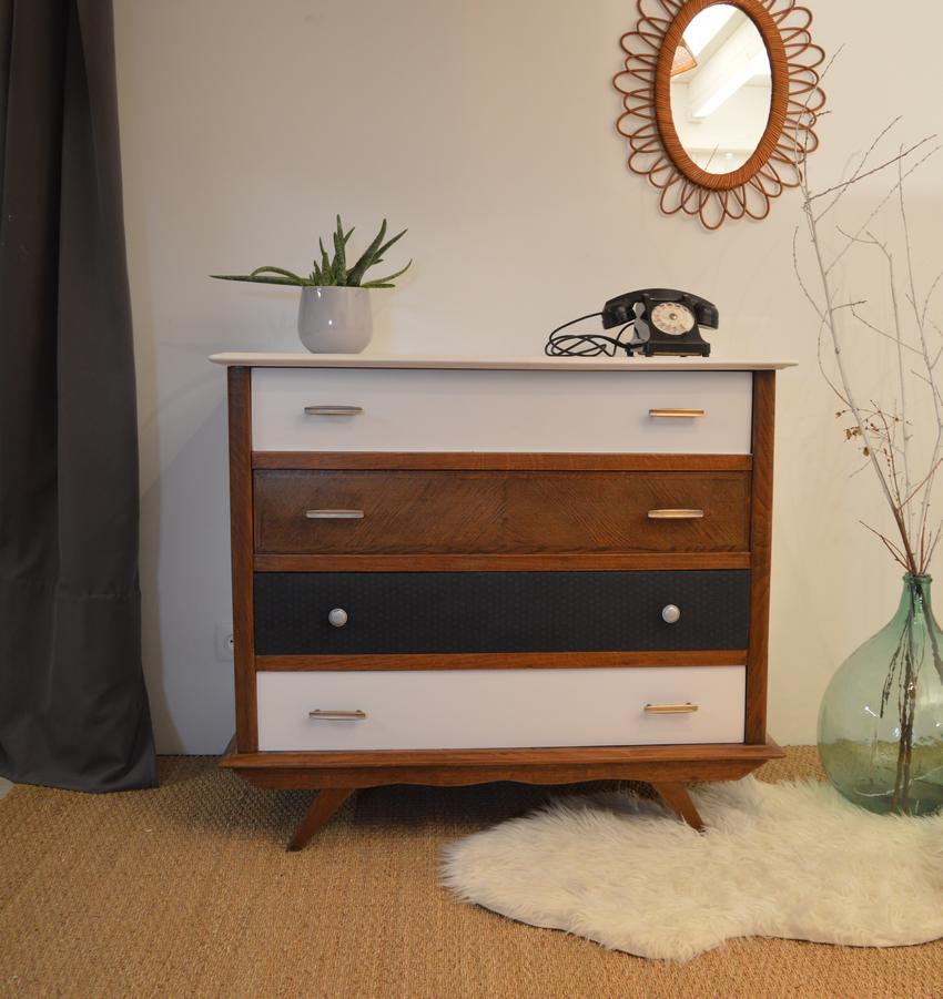 commode 6 tiroirs noir maison design. Black Bedroom Furniture Sets. Home Design Ideas