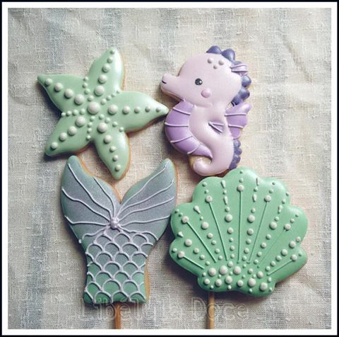 Ocean, Biscoito Decorado, Sugar Cookies, Decorated Cookies, Sea, Mermaid, Bolachas Decoradas, Fundo Do Mar