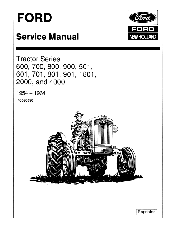 Ford 501, 600, 601, 700, 701, 800, 801 Tractor Service