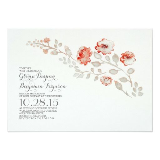 "Watercolor flowers-cute floral wedding invitation 5"" x 7"" invitation card"