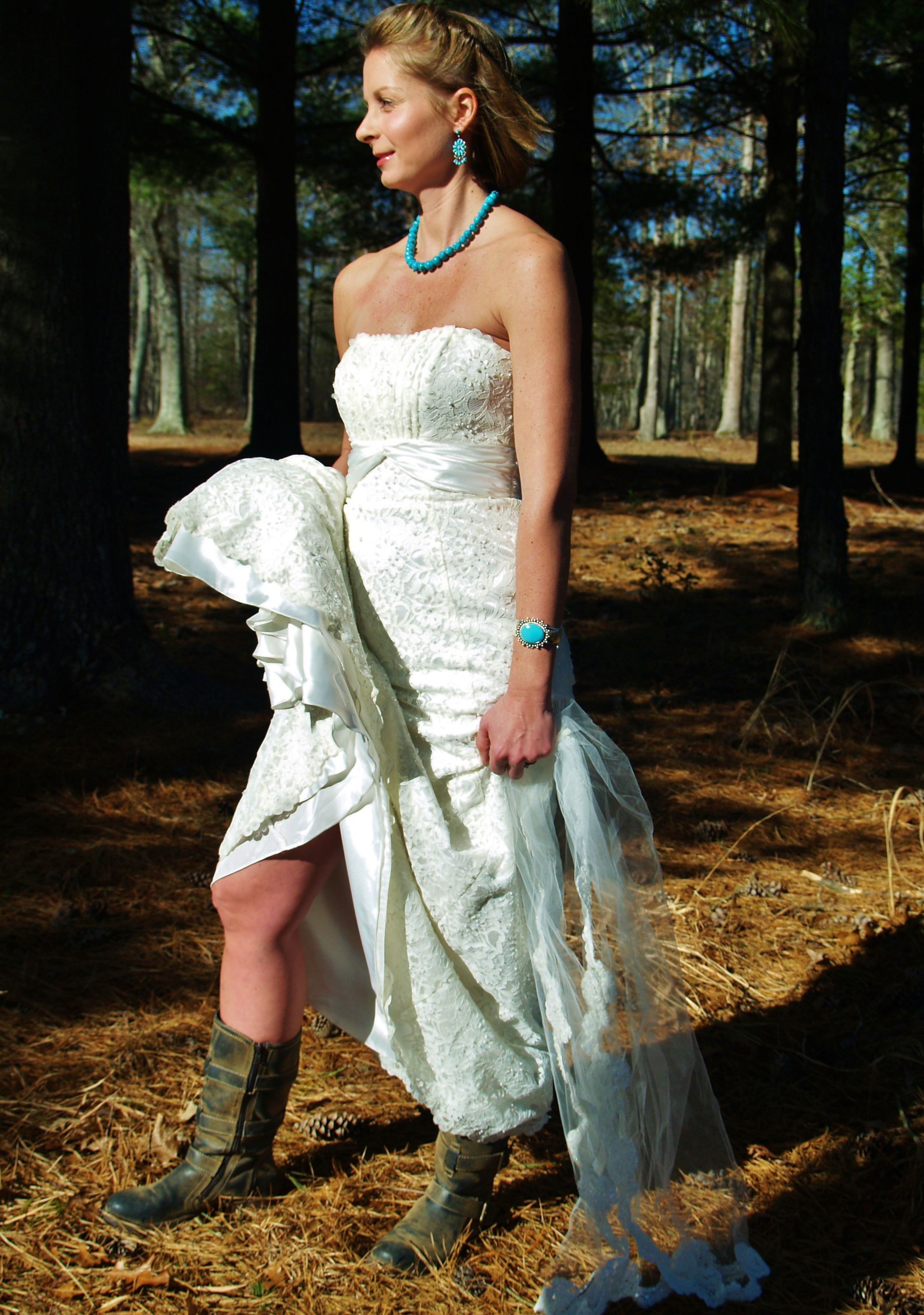 Wedding Dress with Turquoise Jewelry