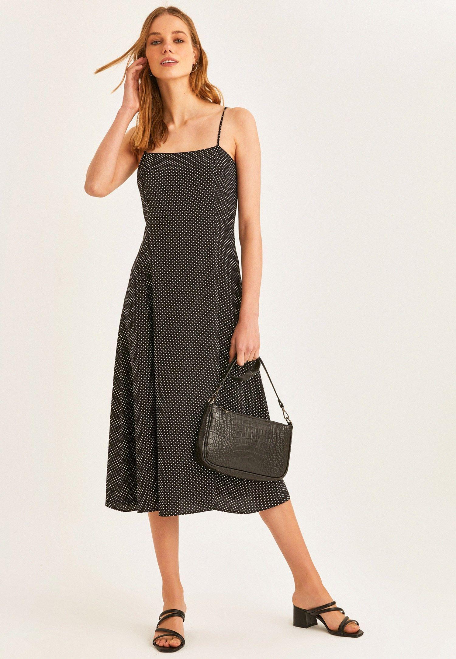 Siyah Puantiyeli Midi Boy Elbise Online Alisveris 20yox Visasdes Oxxo 2020 Elbise Midi Elbise The Dress