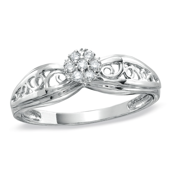 Diamond Accent Cluster Promise Ring In 10k White Gold
