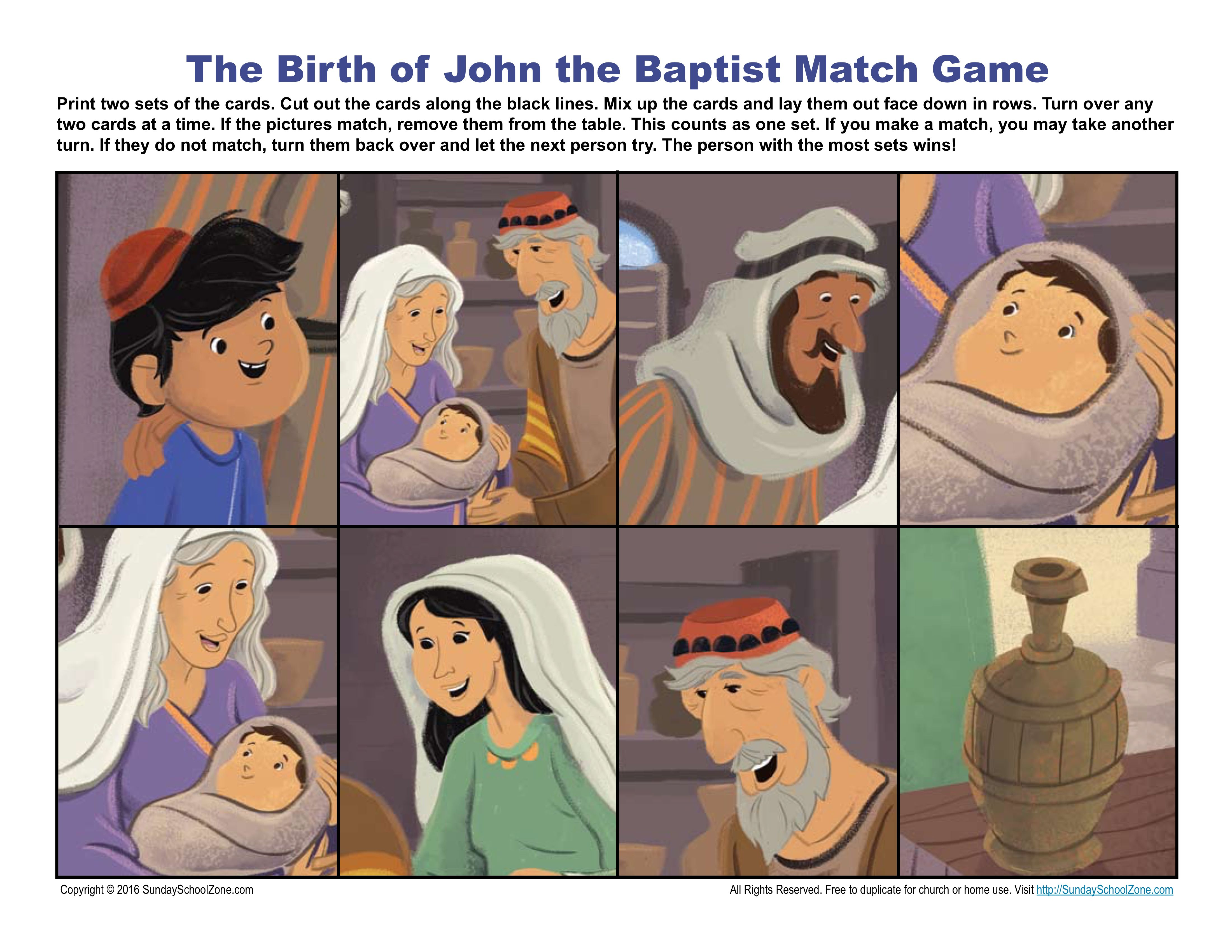 The Birth Of John The Baptist Match Game