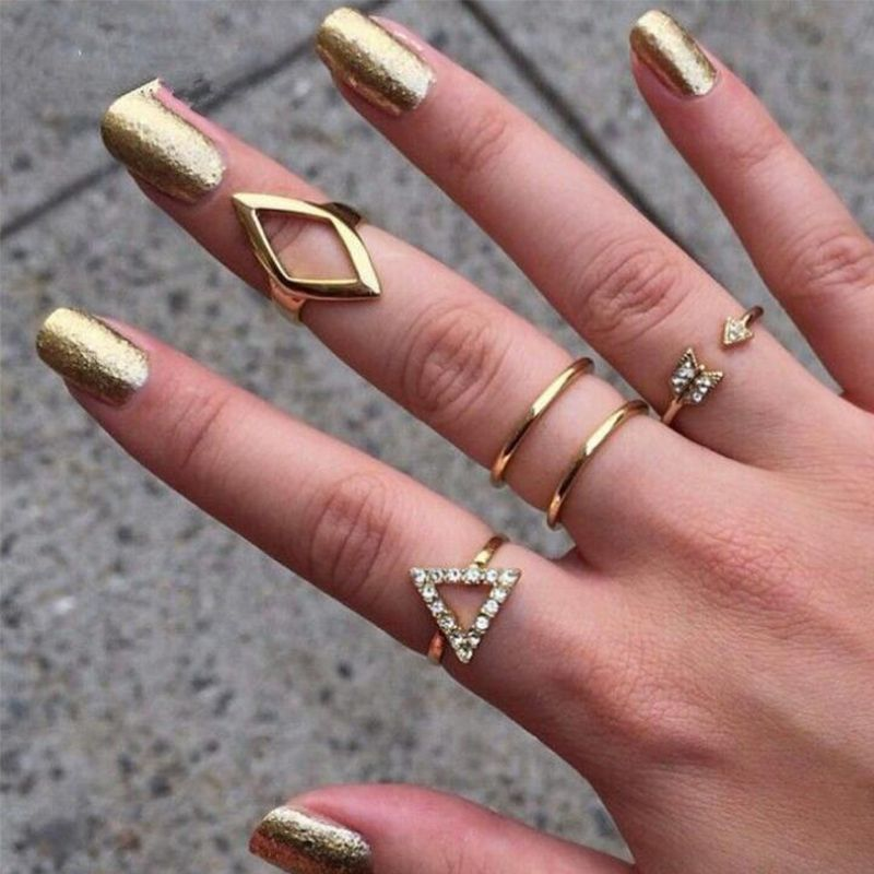 5Pcs Fashion Women Gold Silver Above Knuckle Finger Ring Band Midi Rings Set Gif