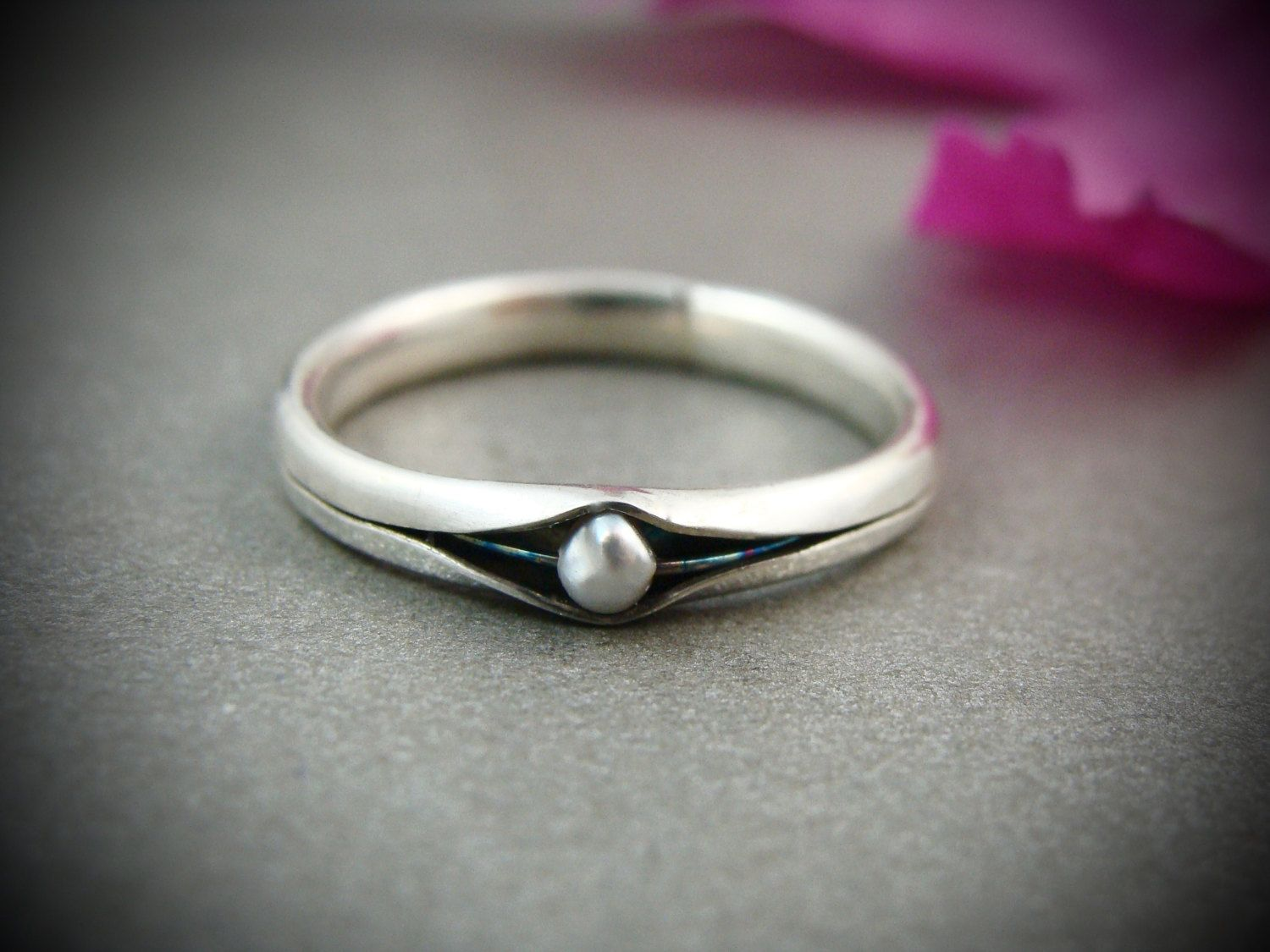 princess and the pea .. sterling silver stack ring by sirenjewels