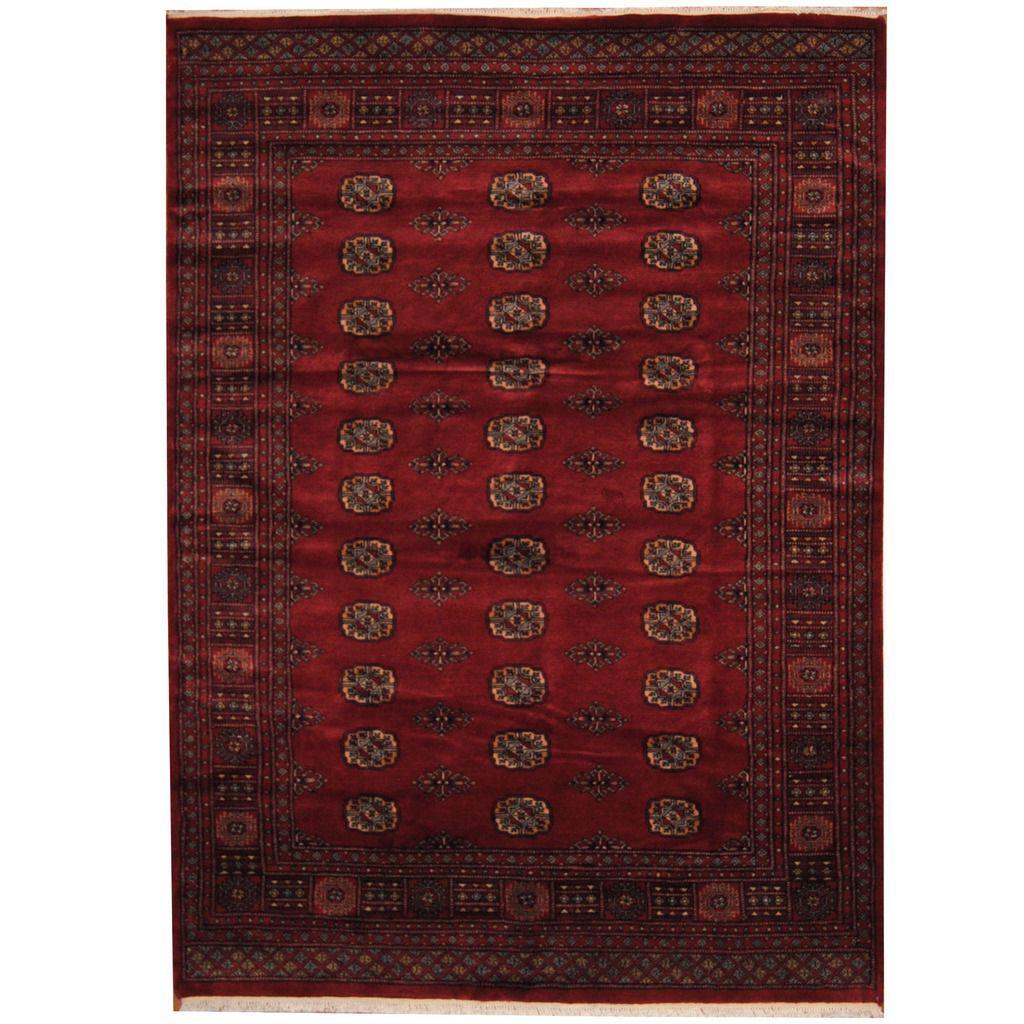 Herat Oriental Pakistani Hand-knotted Prince Bokhara Dark Red/ Ivory Rug