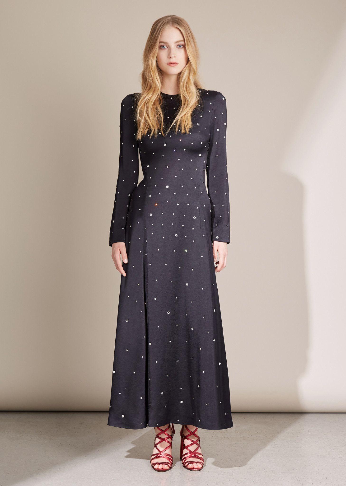 Long sleeve jewel neck satinbacked crepe maxi dress with
